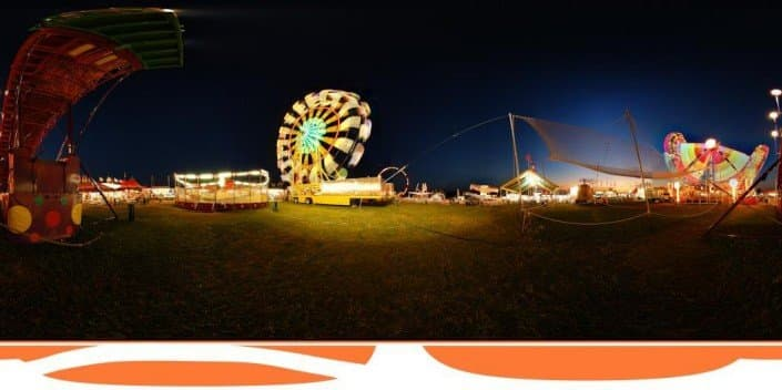 Panorama of a fair at night