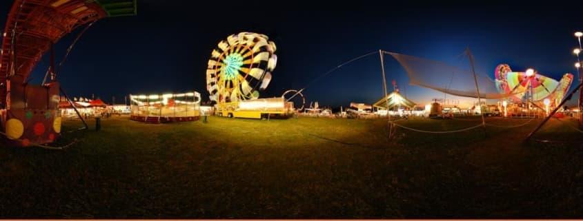 Panorama of a fair at night