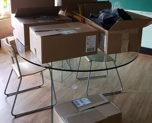 boxes of products